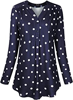 Women's Plus Size Loose Blouse Stretch Henley Tops Polka Dot V Neck Casual Tunic Shirts