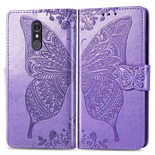 Lomogo Cover LG Q7 / Q7+ (Q7 Plus) Portafoglio, Custodia a Libro Pelle Porta Carte Chiusura Magnetica Antiurto Flip Wallet Case per LG Q7 / Q610 - LOSDA030822 Lilla