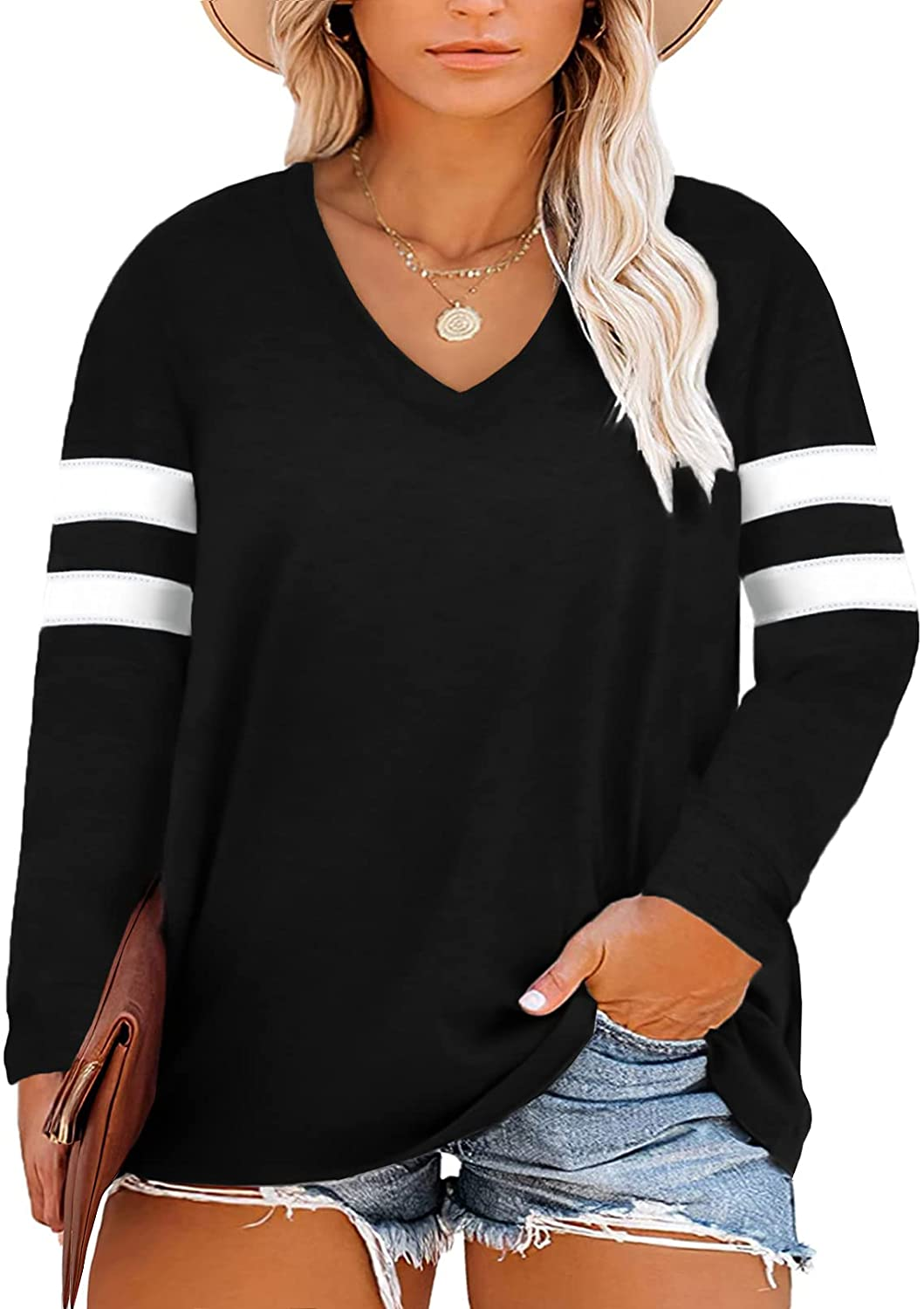 Happy Sailed Womens Plus outlet Today's only Size Tops V Neck Casual Sleeve Long Cre