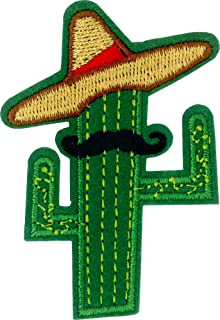 Carlos the Cactus with Mustache and Sombrero - Cut Out Embroidered Iron On or Sew On Patch
