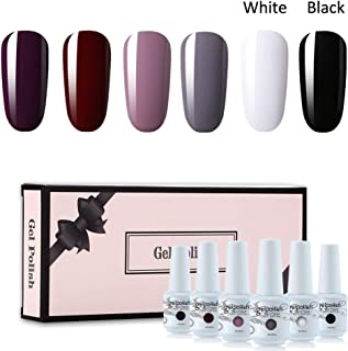 Vishine Gel Nail Polish Gift Set Dark Red White Black Series 6 Colors Nail Art Soak Off UV LED Gel Polish Starter Kit 8ml
