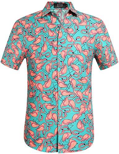 SSLR Herren Hawaii Hemd Kurzarm Flamingo 3D Gedruckt Freizeithemd Button Down Aloha Shirts Strand (Large, Grün)