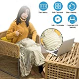 USB Heated Throw Blanket Shawl Battery Operated, Portable Heated Throw Electric Lap Blanket with Warm Pocket,...