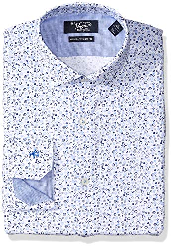 Original Penguin Men's Slim Fit Spread Collar Fashion Dress Shirt, White w/Blue Print, 15.5 32/33