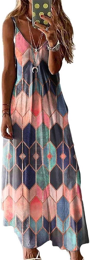 HUPAI Women's Dress Sleeveless Geometric Printed Casual V-Neck Camisole Loose Maxi Dresses