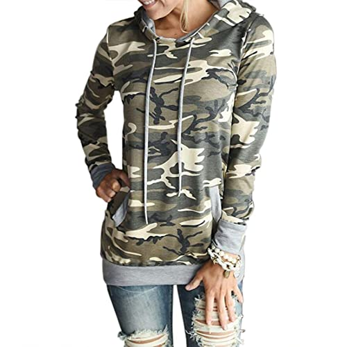 fba61a9c5ed28 THANTH Women s Camouflage Print Long Sleeve Pullover Hooded Sweatshirt with  Pockets