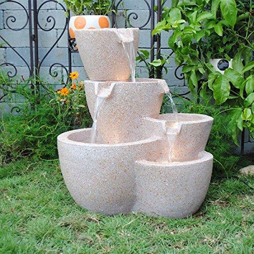 Feng Shui Import Muiti Pots Sandstone Outdoor Indoor Water Fountain with Led Lights