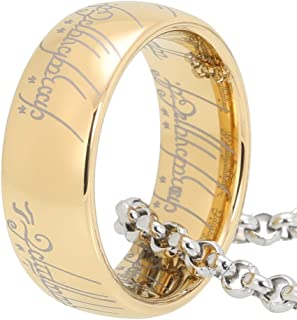8mm Black/Gold Tungsten Rings for Men Women Wedding Bands Polished Shiny Comfort Fit with One 316L Stainless Steel Chain