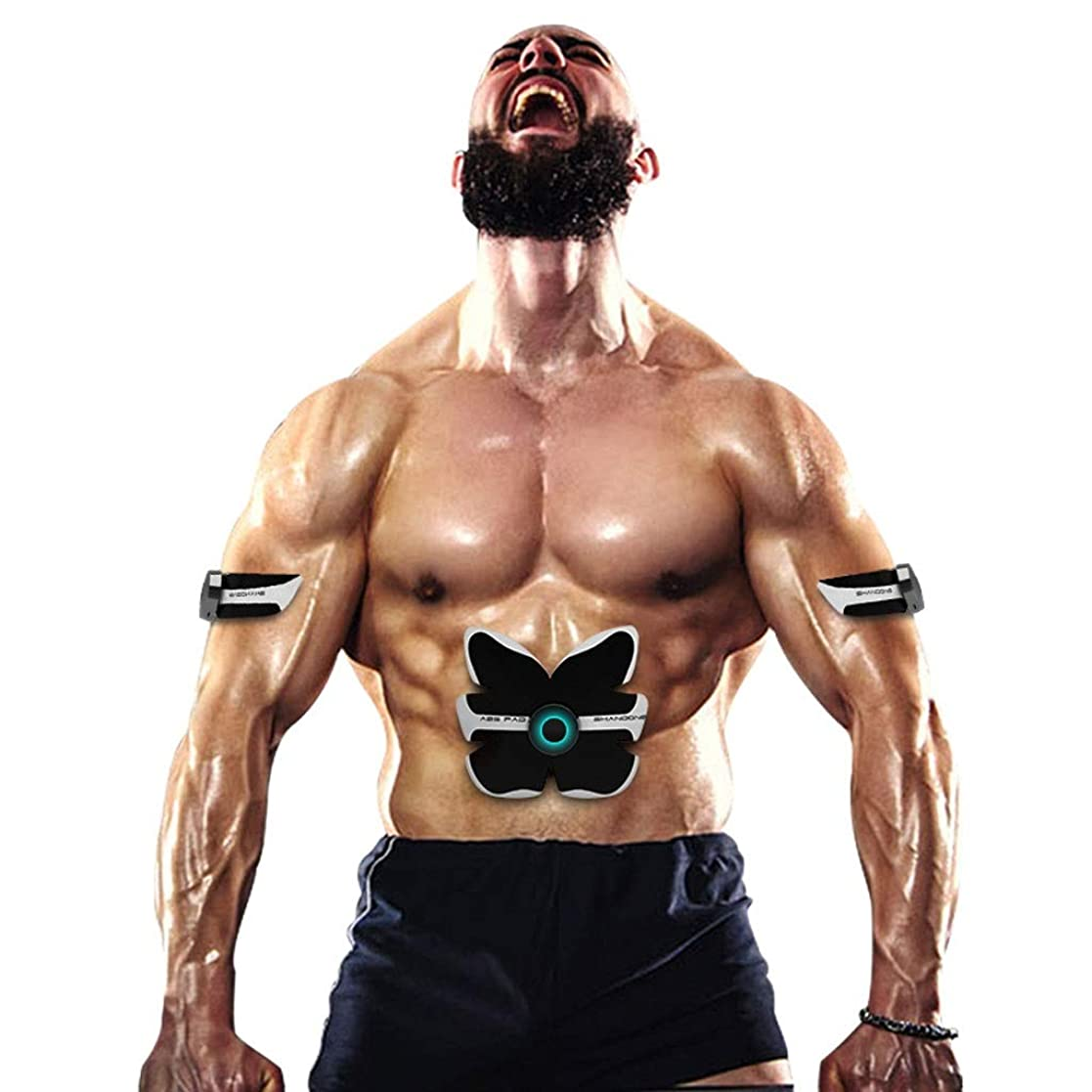 ディレクトリホバート長いですスマートabsトレーニングギア女性男性減量痩身ボディシェイパー腹部筋肉運動刺激装置フィットネス振動機