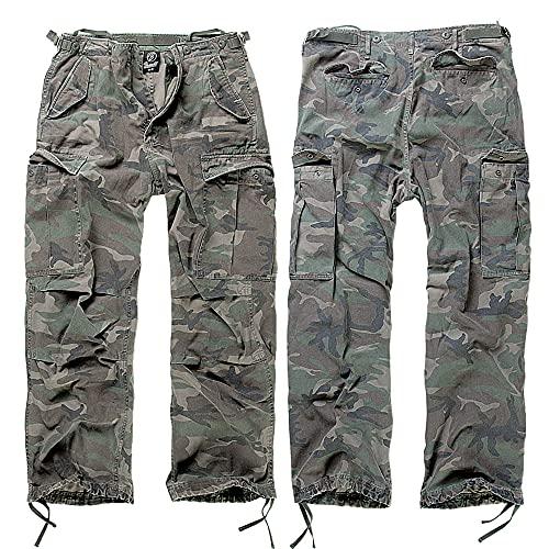 Brandit M65 Vintage Pantalón Cargo de Hombre - Woodland, XL