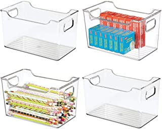 "$29 » mDesign Large Plastic Home, Office Storage Organization Bin Basket with Handles - for Cabinets, Closets, Drawers, Desks, Tables, Workspace - Cube - 10"" Wide - 4 Pack - Clear"