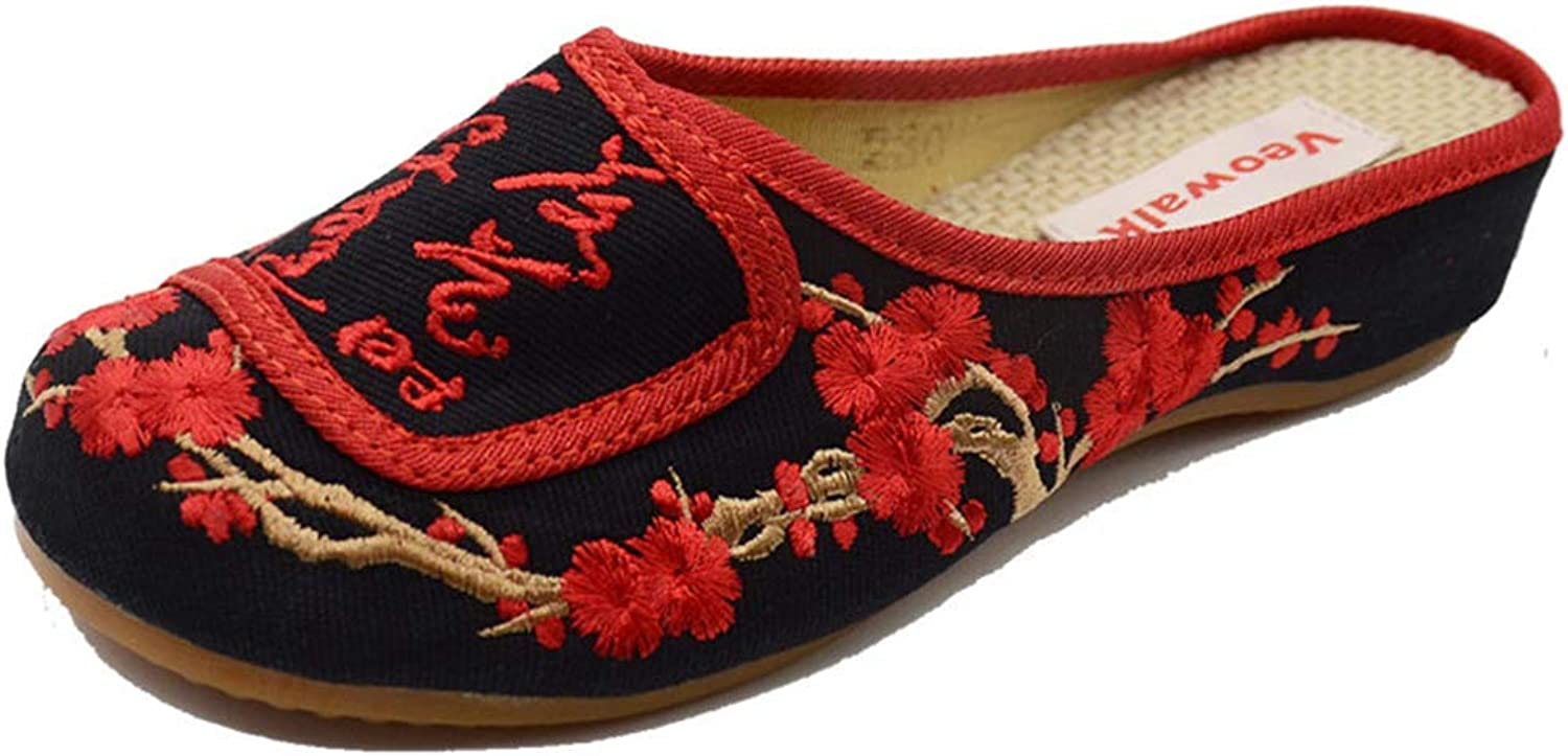 Hoxekle Fashion Slippers Summer Woman Old Peking Cloth Sandals Women Vintage Flower Embroidered Comfortable Sandalias
