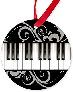 CafePress Piano Keyboard Round Christmas Ornament