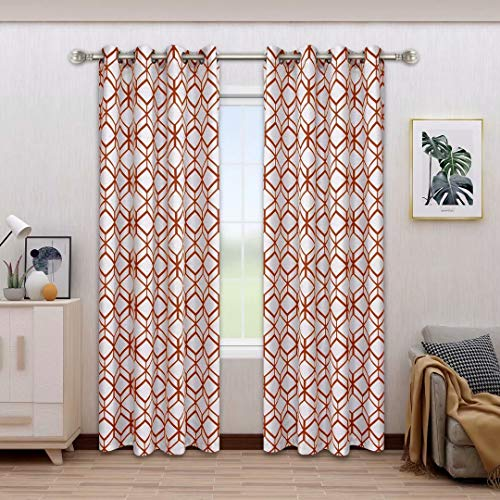 BONZER Linen Textured Diamond Print Curtains - Light Filtering Grommet Window Drapes for Bedroom, Living Room, 52 x 84 Inch, Mecca Orange, Set of 2 Panels
