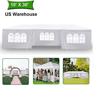 MTFY Outdoor Canopy Tent, Portable Gazebo Canopy Tent for Party Wedding Commercial Waterproof, UV Protection Shelter, Removable Sidewalls, Upgraded Spiral Tube (10x30ft 7 Sidewalls)