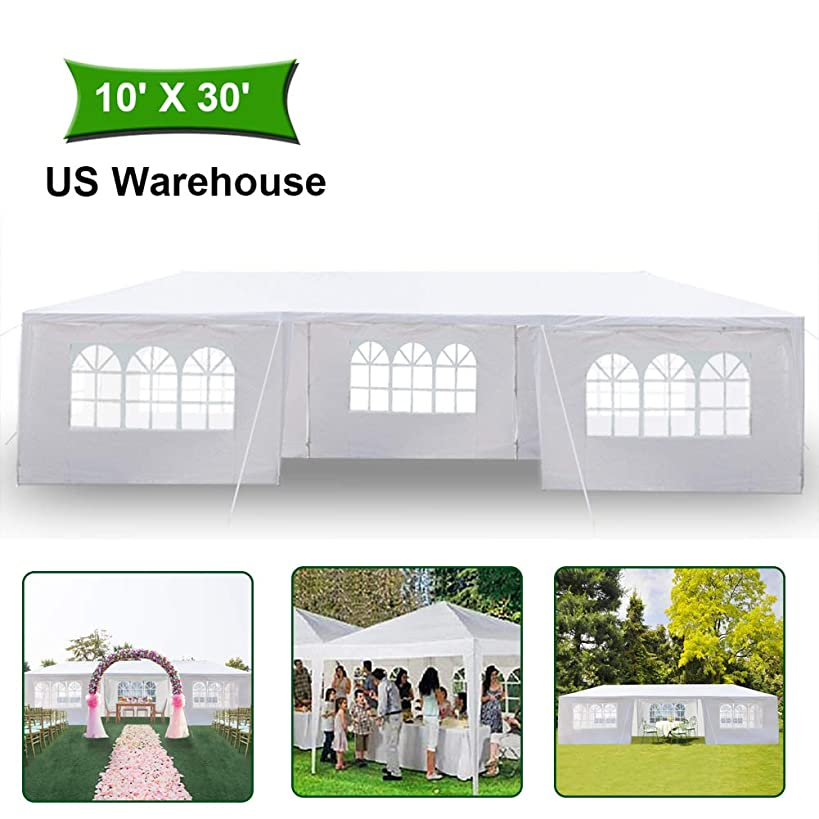 MTFY 10x30'ft Canopy Tent - Portable Waterproof UV Protection Instant Tent Shelter Outdoor for Wedding/Yard/Patio/Camping/Party/Backyard/Garden with Removable Sidewalls