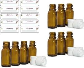 Lot de 10 Flacons Bruns vides pour huiles essentielles 10ml avec Bouchons codigouttes + 10 étiquettes Ma Composition