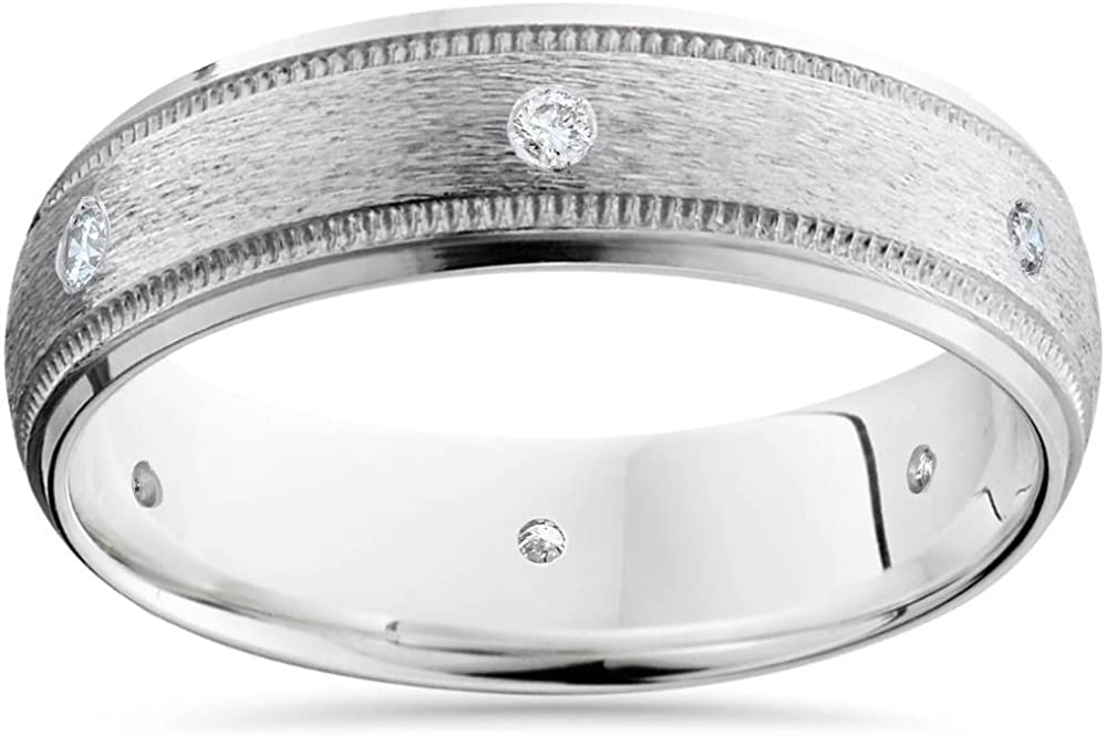 Mens 14K White Gold Diamond Wedding Brushed Band Ring