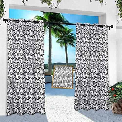 Aishare Store - Cortina para exteriores, color blanco y negro, diseño retro de círculo, 254 x 274 cm, resistente para interior para porche, balcón, pérgola, toldo de carpa (1 panel)