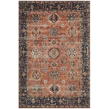 Safavieh CLV305P-6 Classic Vintage Collection Rust and Navy Cotton Area Rug, 6' x 9