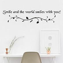 SMILEQ - Adhesivo Decorativo para Pared, diseño de Sonrisa, A, Large