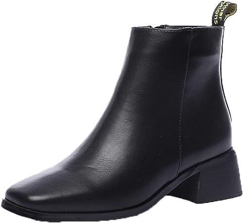 HBDLH Damenschuhe Einfache Kurze Stiefel Mit Hohen 5Cm Pravokotno Glavo Dicke Sohle Mittlere U - Stiefel Samt Und Stiefeletten.