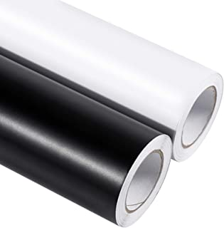 Self Adhesive Vinyl 2 Rolls of 12in by 20ft Matte Permanent Vinyl Roll (Black and White) with Clear Transfer Paper for Sig...