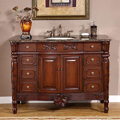 """Silkroad Exclusive HYP-0151-BB-UIC-48 Countertop Granite Stone Single Sink Bathroom Vanity with Cabinet, 48"""", Medium Wood"""