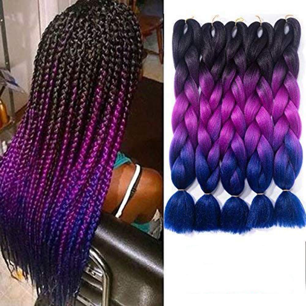 Amazon Com Ombre Braiding Hair Kanekalon Synthetic Braiding Hair Extensions Black Purple Blue Jumbo Braids 24inch 5pcs Lot Beauty