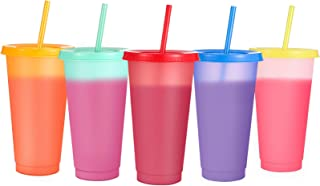 Sursip 5 pack 24oz Color Changing Cups Tumblers Reusable Tumbler,Summer Coffee Tumblers Party Cup for Adults BPA Free with...