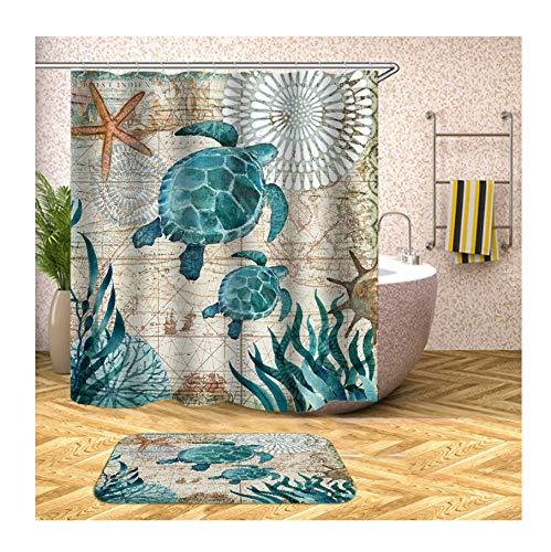 Anwaz Duschvorhang & Badezimmerteppich Set Waschbar aus Polyester Schildkröte Muster Design Bad Vorhang Badezimmerteppiche Bunt mit 12 Duschvorhangringen für Badewanne - 165x200CM/ 40x60CM