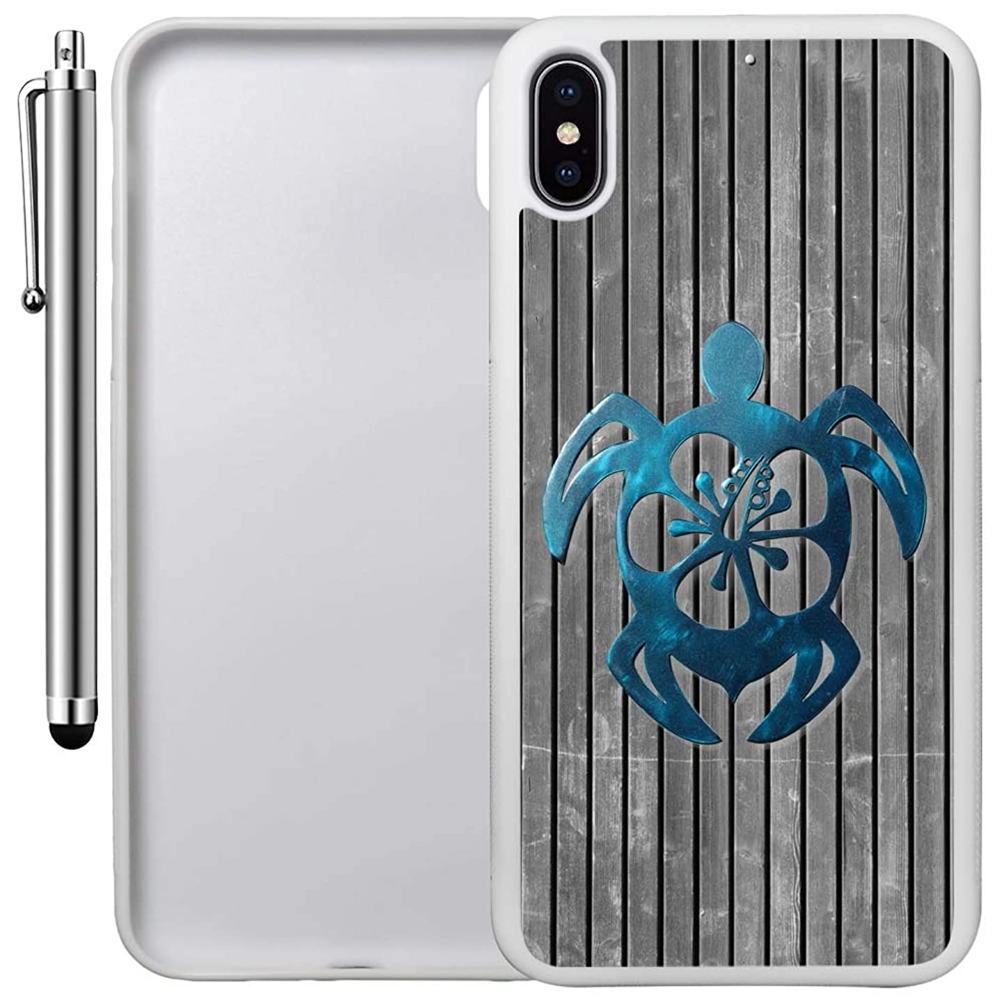Custom Case Compatible with iPhone Xs MAX (6.5 inch) (Teal Hawaiian Turtle) Edge-to-Edge Rubber White Cover Ultra Slim   Lightweight   Includes Stylus Pen by Innosub