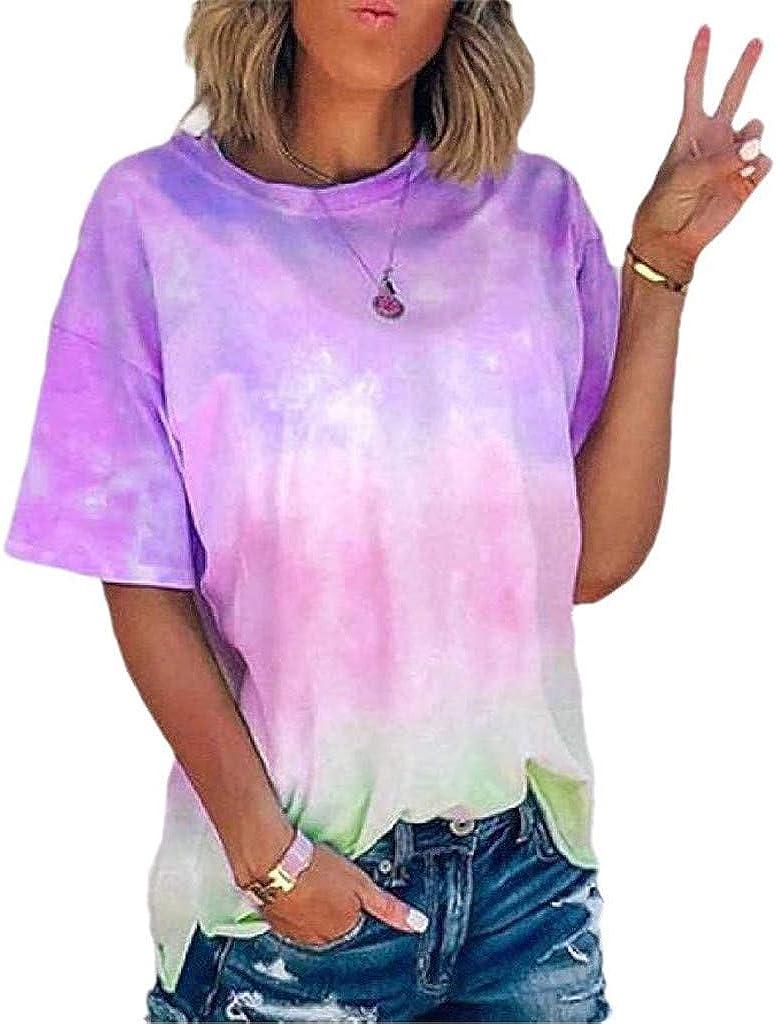 Weginte Women Portland Mall T Shirts Casual Short Summer OFFicial site Tie-Dye Print Sleeve