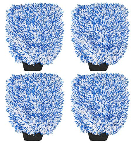 Yesland 4 Pcs New Car Wash Mitt, Premium Cyclone Microfiber Wash Mitts, Blue Washing Gloves - Paint Scratch Free Cleaning Tool Dust Collector Supplies for Washing Car,Truck, RV