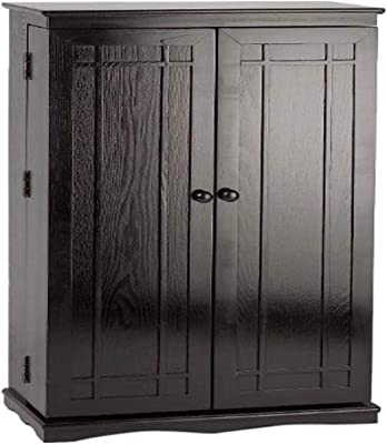 Leslie Dame Solid Oak Multimedia Storage Cabinet with Classic Mission Style Doors, Black