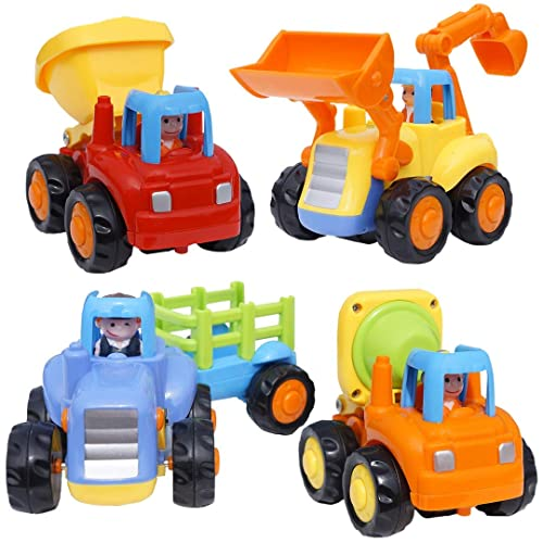 CifToys Friction Powered Cars - Push and Go Toys Car Construction Vehicles Toys for Age 18 Month 2 3 4 5 Year Old Girls Boys Age Toddler Gift Set of 4 Tractor, Cement Mixer, Bulldozer & Dump Truck