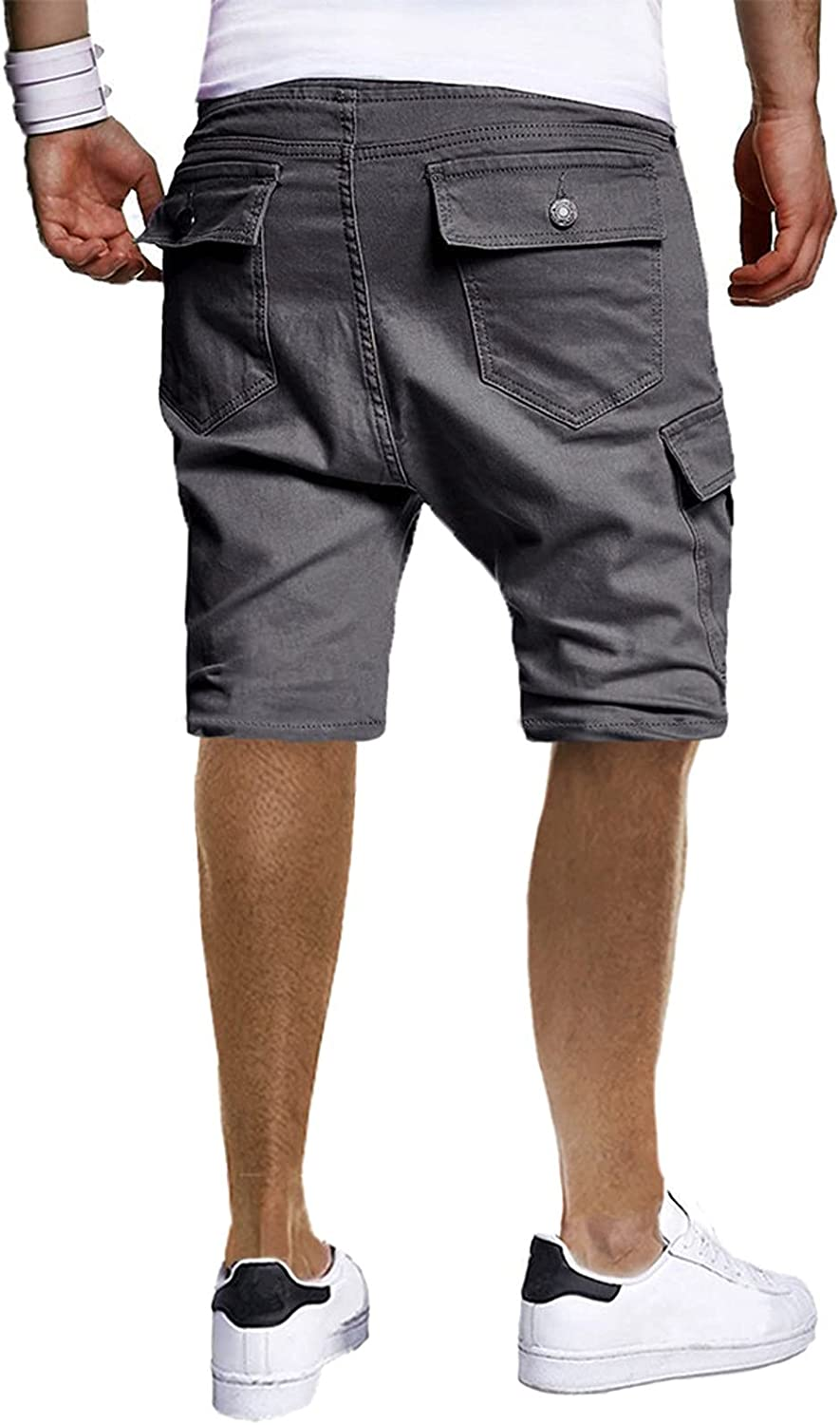 ZCAITIANYA Men's Shorts Cargo Pants Casual Summer Solid Color Outdoor Breathable Drawstring Sports Pants with Pockets