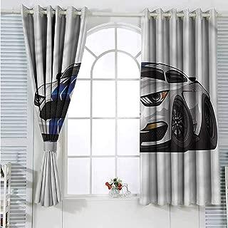 Boys Room Grommet Creative Blackout Curtains Muscle Race Rally Car Suitable for Bedroom Patio Sliding Door Cartoon Printed Nursery Room Boys Girls Bedroom Kids Room Living Room Dorm 72x108