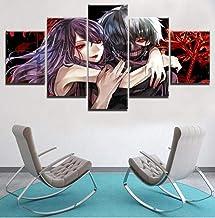 Impresiones sobre Lienzo 5 Piezas De Anime Tokyo Ghoul Ken Kaneki Rize Kamishiro Pintura Moderna Lienzo Arte Impresiones Decoración del Hogar (Tamaño C) Sin Marco Impresiones sobre Lienzo
