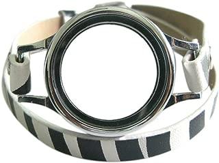 Generic Multi-color Plain Twist Threaded Watch Locket with 8mm PU Leather Wrap Bracelet Living Memory Floating Charm Locket DIY Jewelry (plain locket with zebra wrap)