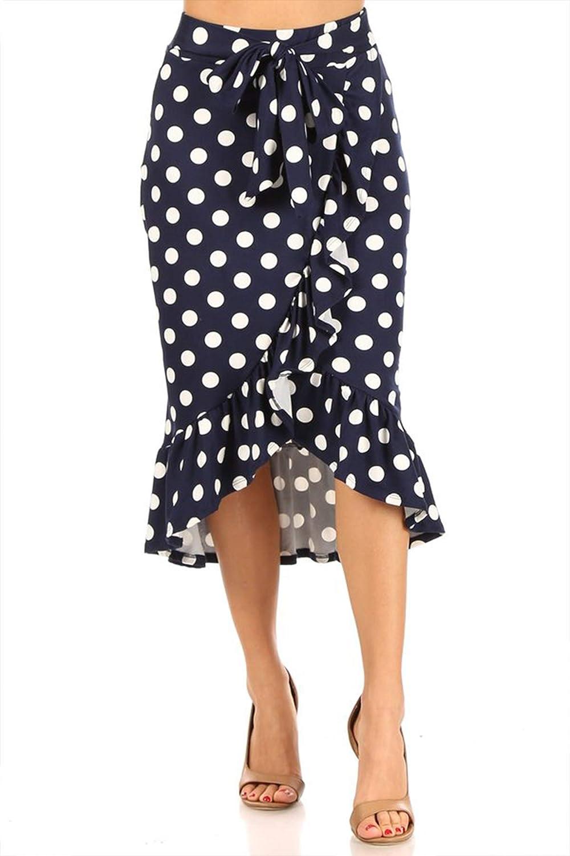 Women's Casual Stretch Slit Bag Lightweight High Waist Tie Solid Polka Midi Pencil Skirt