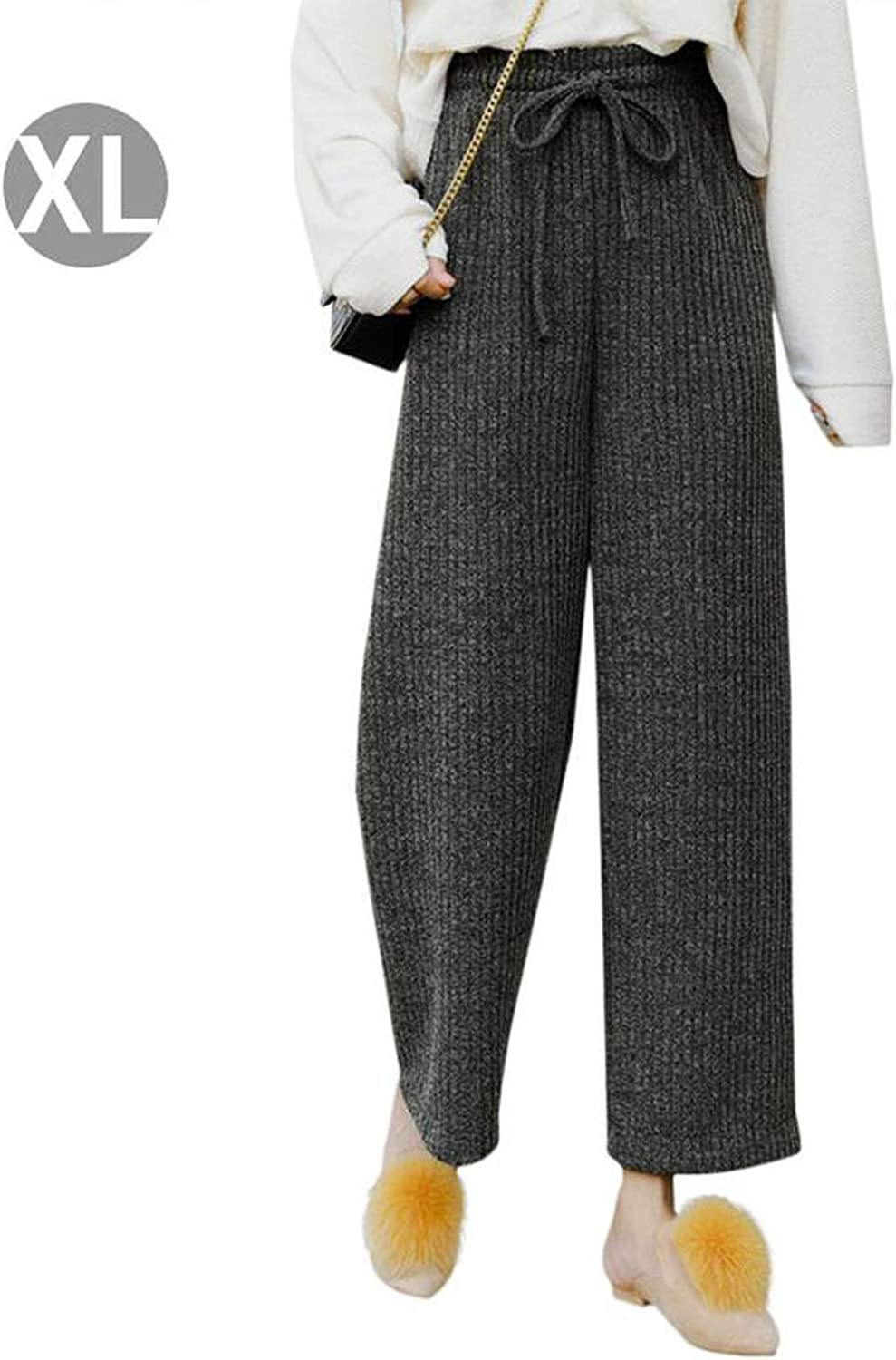 I'll NEVER BE HER New Knitted WideLeg Pants Autumn Winter Students Korean High Waist Drape Casual Straight Pants