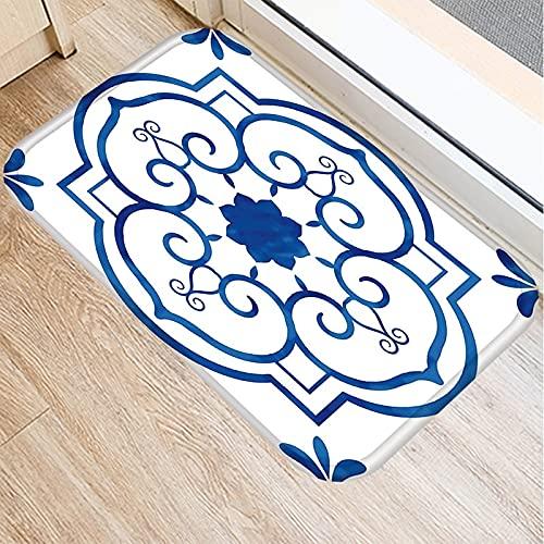 HLXX Alfombra de Puerta de Entrada Alfombra Estampada Azul Blanca Alfombrillas de Interior Alfombra Antideslizante Alfombrillas de baño de Dormitorio Decoración del hogar A2 40x60cm