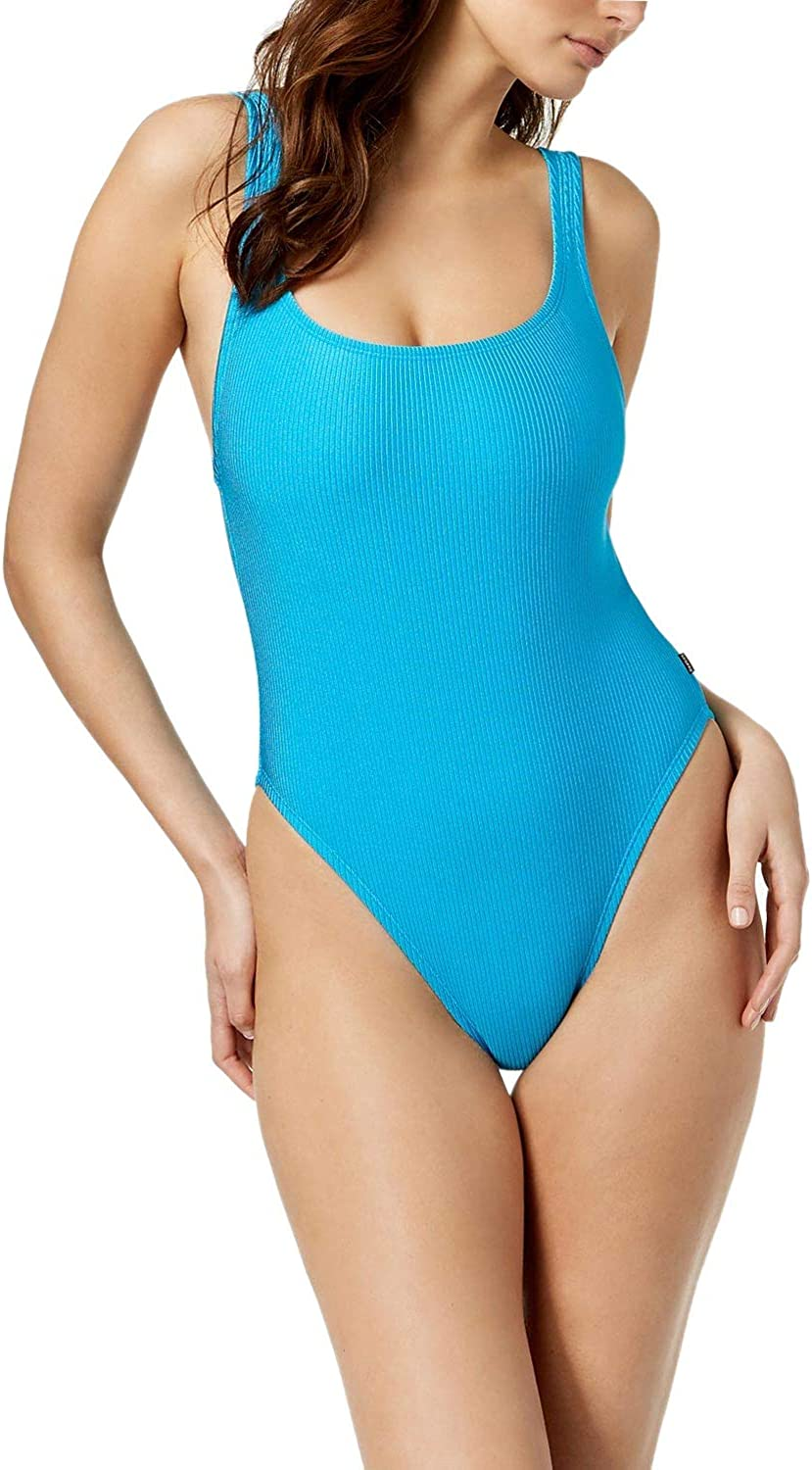 Reebok Turquoise Low Back Ribbed One-Piece Swimsuit M
