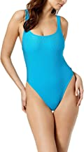 Reebok Womens Ribbed One-Piece High-Leg Swimsuit