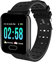 Mindfied A6 Smart Band for Health and Fitness for Heart Rate Blood Pressure Monitor IP67 Waterproof Activity Tracker (Black)