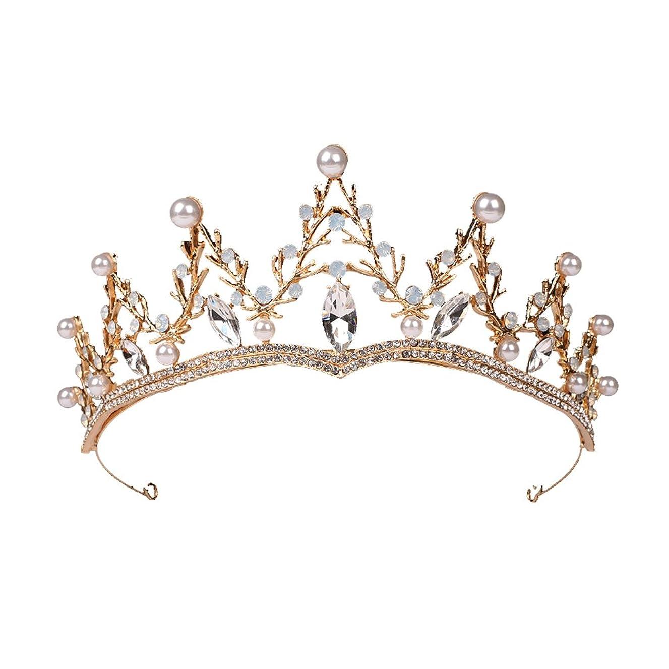 北米名義でレコーダーLUOEM ブライダル ティアラ ヘアバンド 花嫁 結婚式 ウェディング 王冠 クラウン クリスタル 髪飾り ヘアアクセサリー(ゴールド)