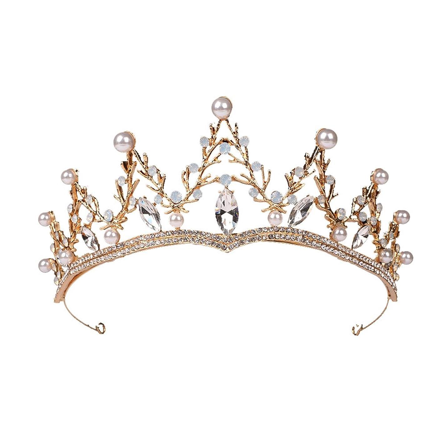 十億パリティクッションLUOEM ブライダル ティアラ ヘアバンド 花嫁 結婚式 ウェディング 王冠 クラウン クリスタル 髪飾り ヘアアクセサリー(ゴールド)