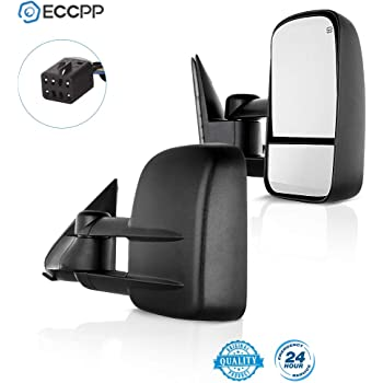 ECCPP Towing Mirrors for Chevy for Chevy Silverado Tahoe Suburban GMC Sierra Yukon XL Black Power Heated Towing Side Mirrors 2000 2001 2002