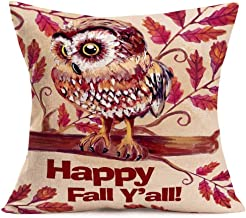 Hopyeer Autumn Harvest Pillow Cover Happy Fall Y'all Vintage Cute Owl Bird Sitting on The Tree Branch with Red Maple Leaves Cotton Linen Throw Pillow Case Cushion Cover for Sofa Couch 18